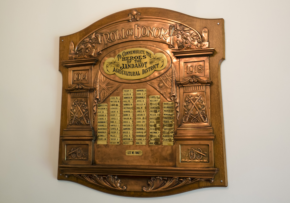 1914-18 WW1 Roll of Honor Board commemorating the Jandakot Agricultural District local soldiers.