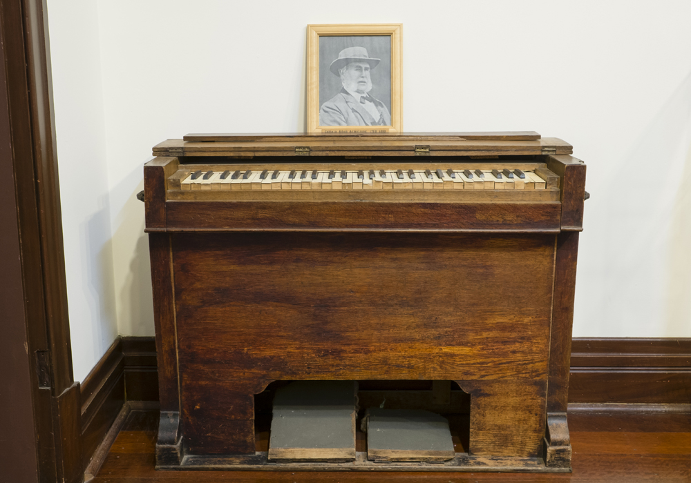 Harmonium, bought to the Swan River Colony by Captain Adam Armstrong on the S.S. Gilmore in 1829. ~ Donated by Mrs. J. Ingram.