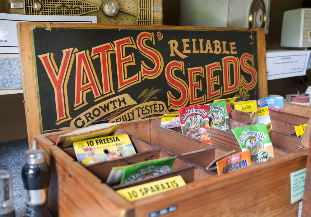 Yates seed box c.1930. ~ Donated by Brenda Ford.