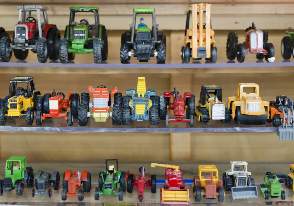 A collection of industrial/working machine model vehicles, made by Dinky Toys and Matchbox Toys c.1900's.