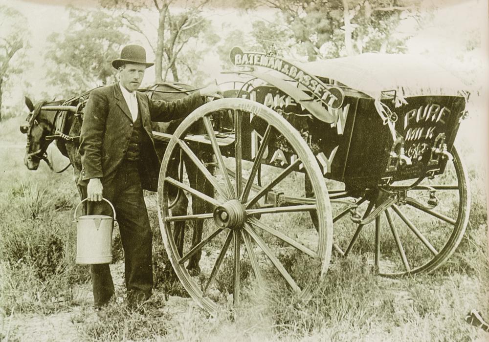Bateman and Bassette Dairy, Joseph Bassette beside milk cart, son-in-law to Joseph Meller. ~ Donated by the Meller Family.