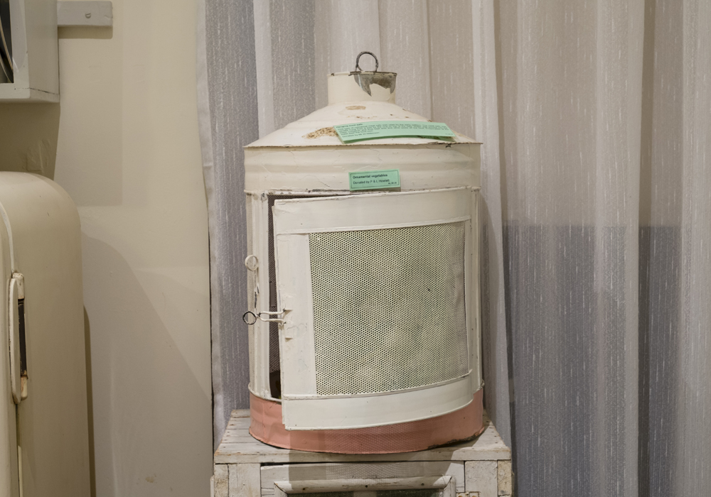Hanging meat safe, used by the early settlers to keep meat cool and pest-free. ~ Donated by Mr. W. Wilkinson.