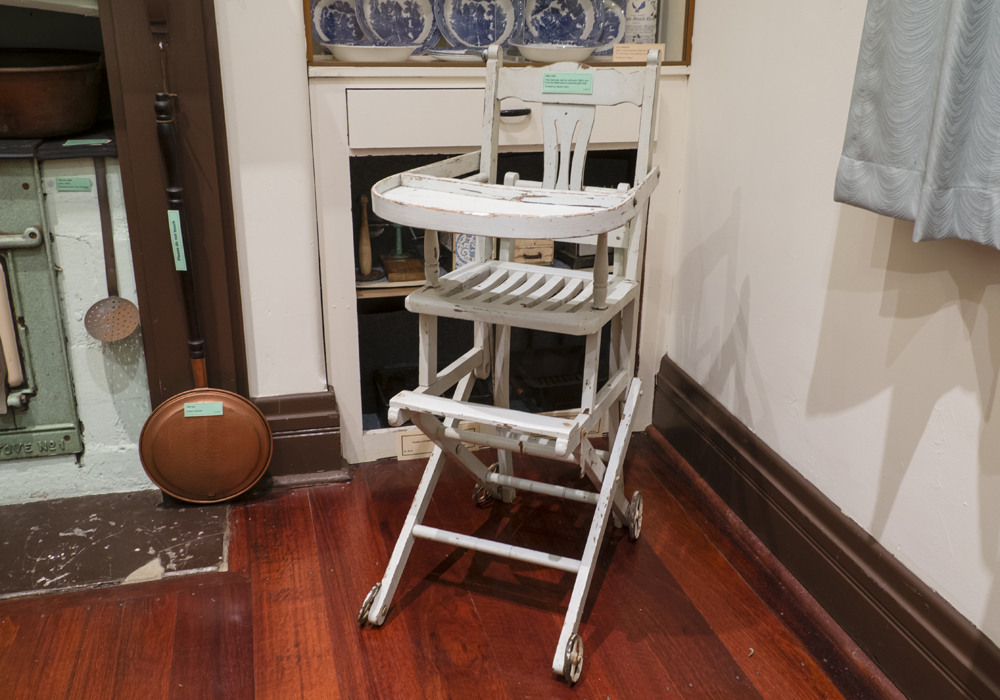 This high chair was used up until early 1960's and can be folded down into a push chair. ~ Donated by Steven Perry.