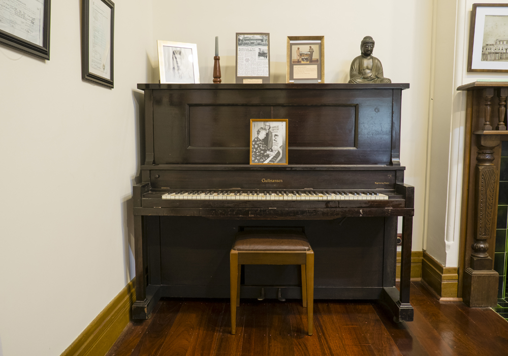 This 'Gulbransen' upright piano was purchased in 1926 and used in North Fremantle Town Hall. ~ Donated by Mrs. Frances Andrews.