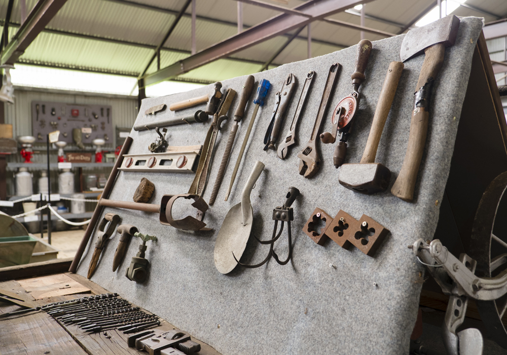 A range of tools, used by the local market gardeners and tradesmen of the area in the 1900's.