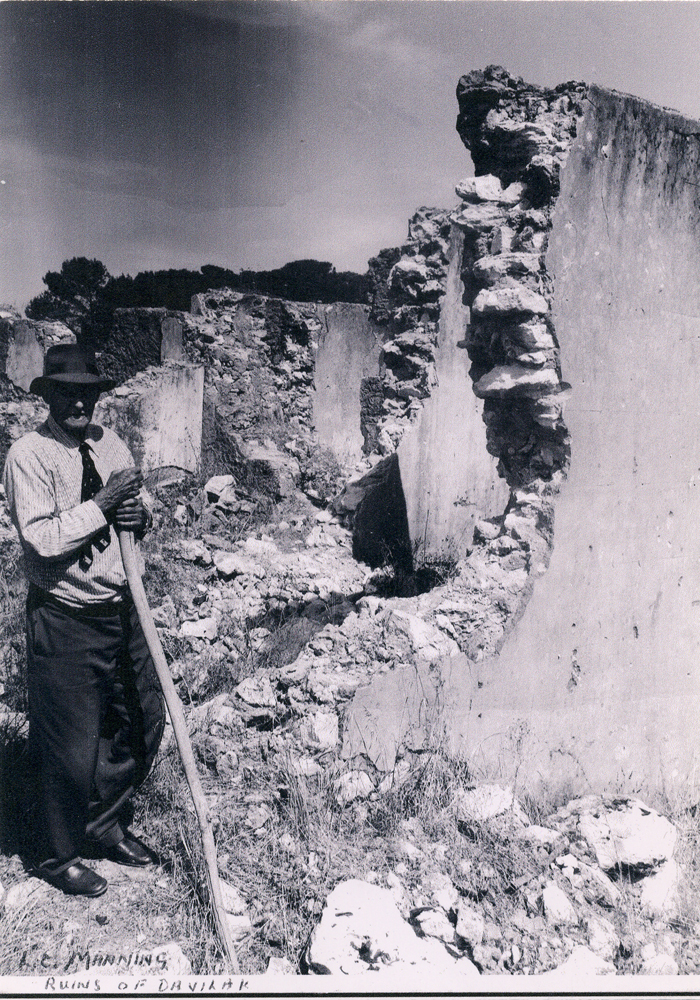Lucius Charles Manning at the ruins of Davilak after the fire about 1962.