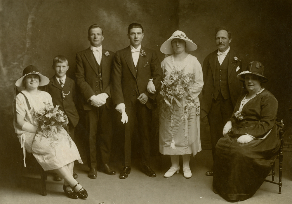 Wedding photograph of Tom Gibson and Lottie Isted.