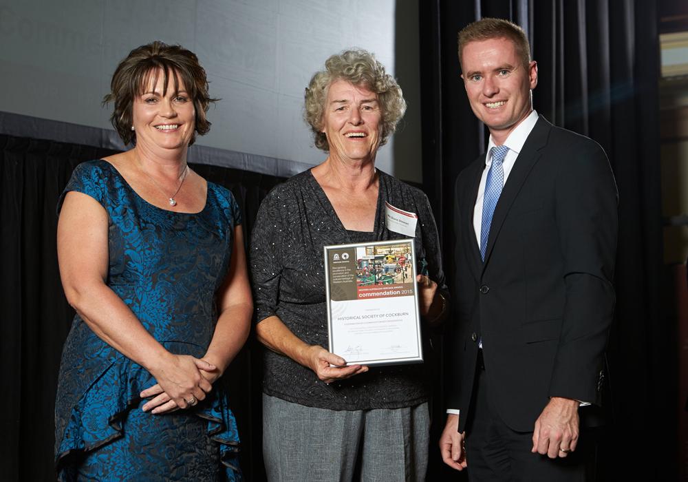 Cockburn Historical Society President Diane Stewart receiving the award.