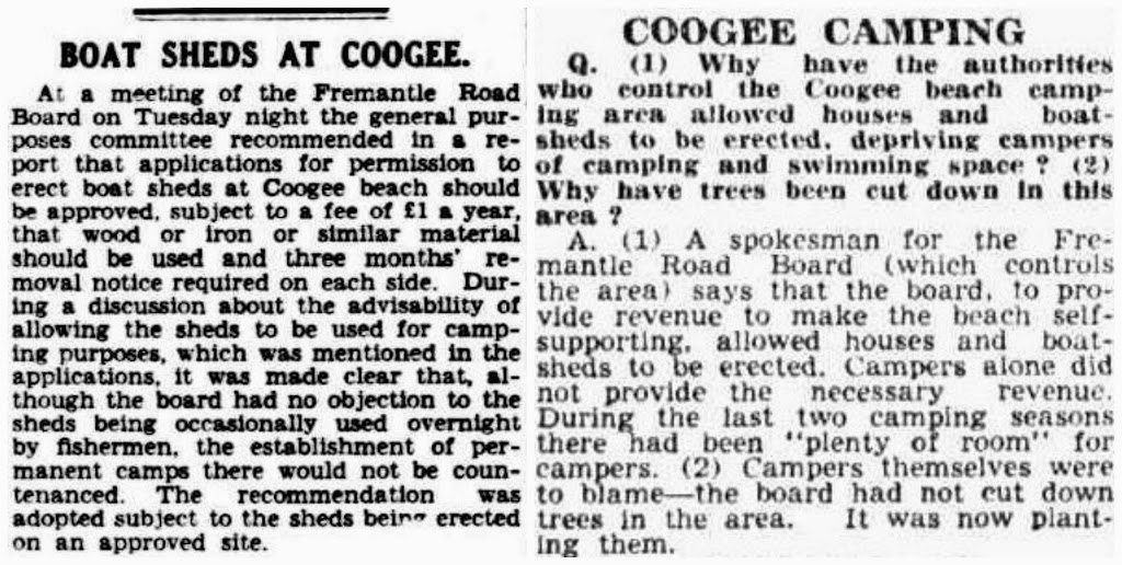 "Boat sheds at Coogee"", The West Australian, March 1936 / ""Coogee Camping"", The Daily News, January 1949."
